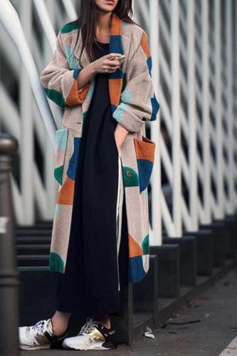 Fashion Turndown   Collar Printed Long Sleeve coat