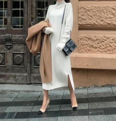 Casual Simple Loose   Shown Thin Knitted Sweater Maxi Dress
