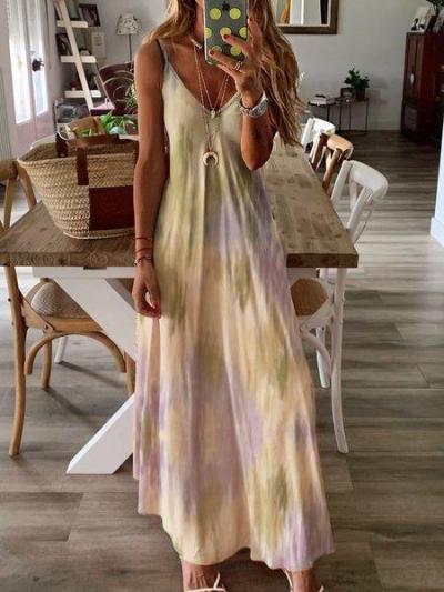 Dyed Printed Maxi Holiday Dress