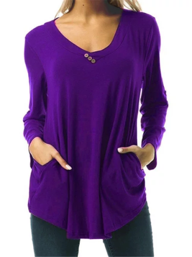 Solid 8 Colors Buttoned Pockets Simple & Basic V Neck Prime T-Shirts