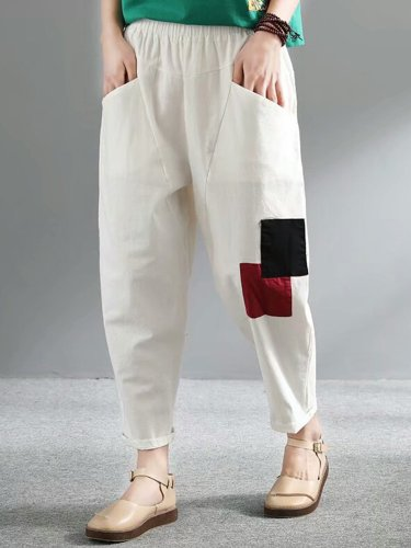Summer Casual Cotton Pockets Pants