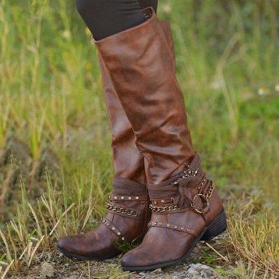 Women Vintage Booties Casual Zipper Plus Size Shoes