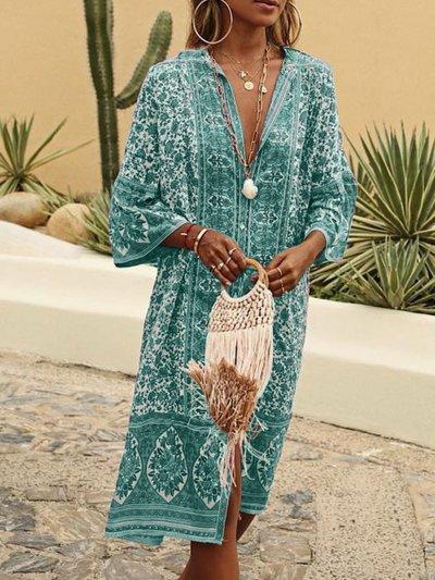 Women Vintage Boho Plus Size Summer Dresses