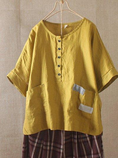 Vintage Button Short Sleeve Patch Pockets Blouse