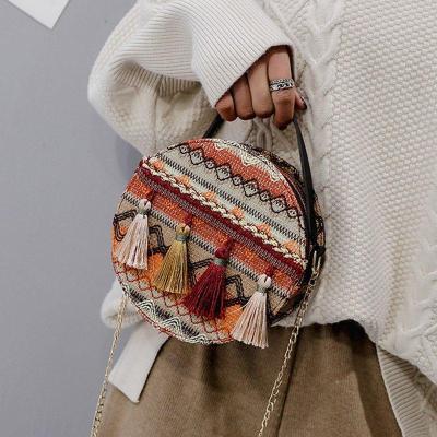 Women's Round Tassel Zipper Crossbody Bags