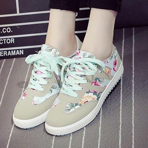 Women Flower Sneakers Casual Sport Plus Size Shoes