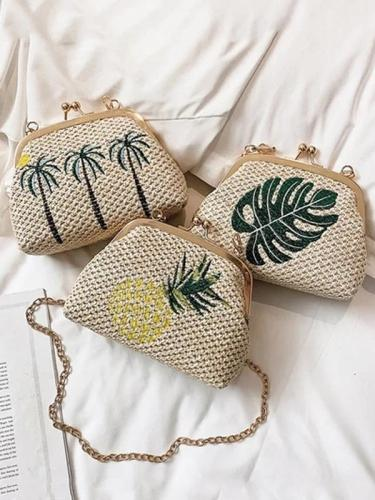 Women's Beach Embroidery Lock Bag Handbag