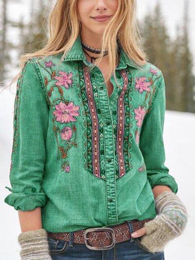 Floral Shawl Collar Casual Long Sleeve Shirts & Tops