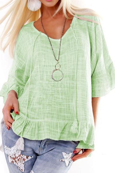 Casual Plaid Half Sleeves Flounced T-shirts