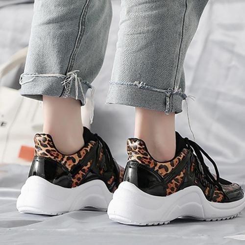 Fashion Women Leopard Printed Flat Heel Sneakers