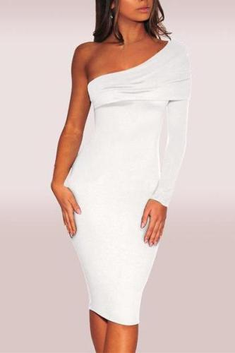 Casual Sloping Shoulder Pure Colour Bodycon Dresses