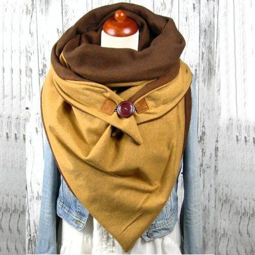 Scarf Women Fashion Women Soild Star Printing Button Soft Wrap Casual Warm Scarves Shawls