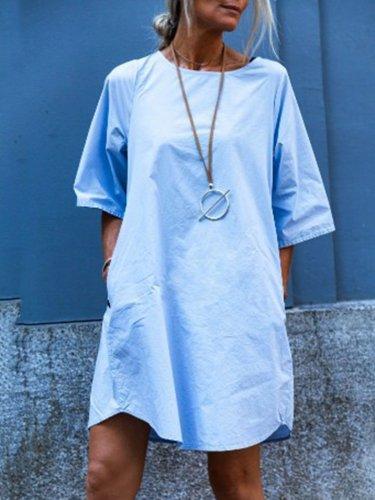 Light Blue Crew Neck Cotton-Blend Casual Dresses