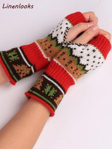 Christmas Knitted Arm Fingerless Warmer Gloves Winter Gloves