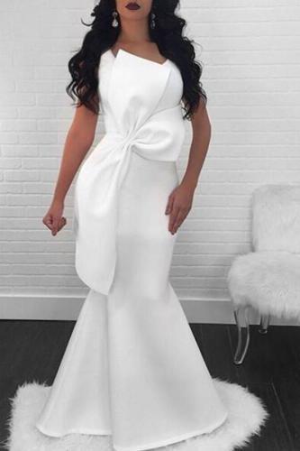 Elegant Fashion Plain Irregular Tube Bowknot Front Sleeveless Evening Dress