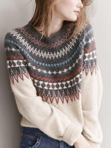 Color-Block Tribal Raglan Sleeve Sweaters