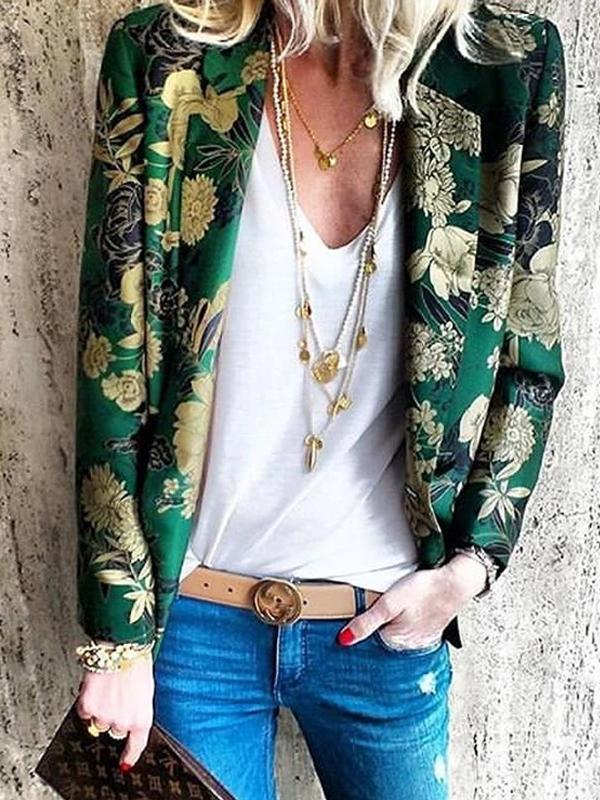 Women's Bohemian Printed Color Turndown Collar Long Sleeve Cardigan