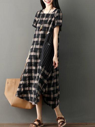 Women Checkered/Plaid Basic Casual Dress