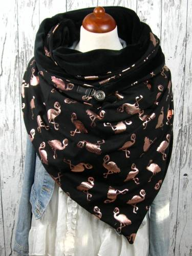 Black Animal Casual Printed Flamingo Scarves