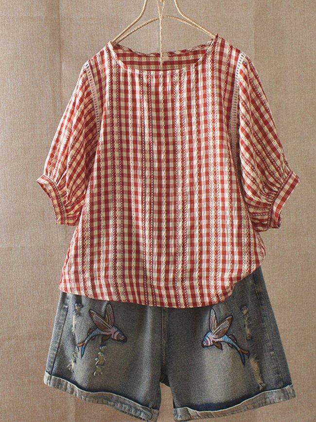 Cotton-Blend Sweet Round Neck Shirts & Tops