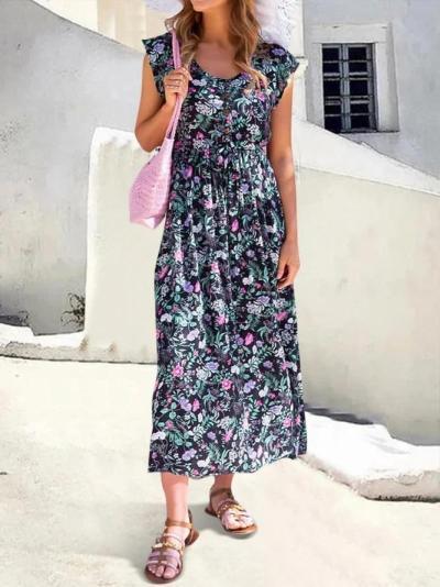 Women Floral Half-Placket Button Maxi Dresses