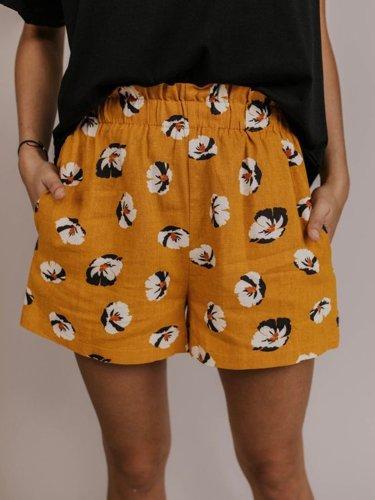Women Floral Shorts Pockets Printed Casual Shorts