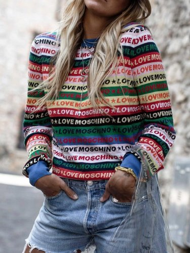 Casual Plus size letter sweater top