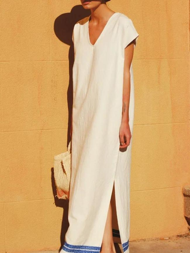 Maxi Dress V Neck Short Sleeve Dresses