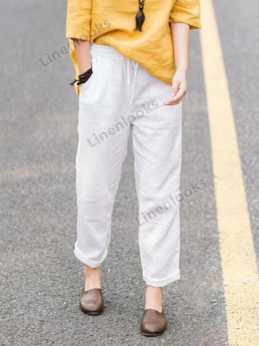 Trousers Women Elastic Waist Solid Color Harem Pants Loose Casual Pants