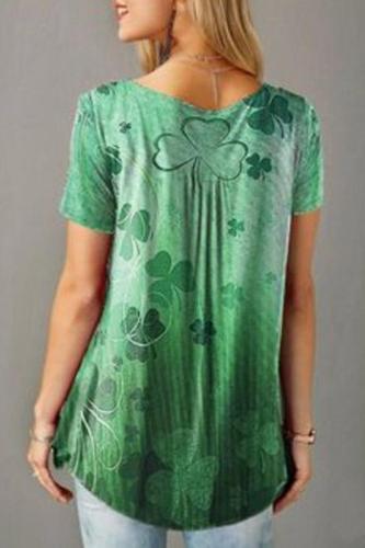 Gradient Floral Print Elegant T-shirts