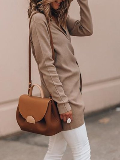 Khaki V Neck Solid Casual Outerwear