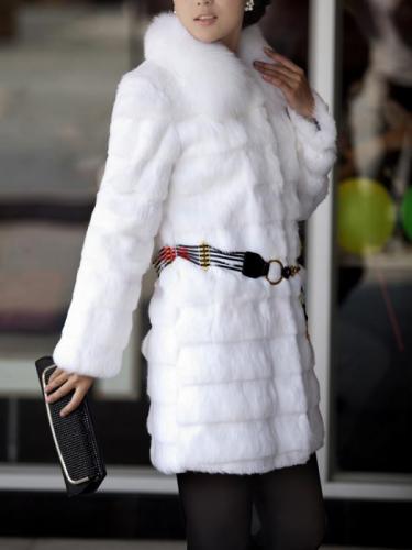 Warm Tie O-Neck Holiday Bodycon Faux Fur Coat