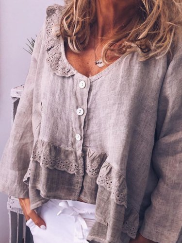 Long Sleeve Patchwork Casual Round Neck Shirts