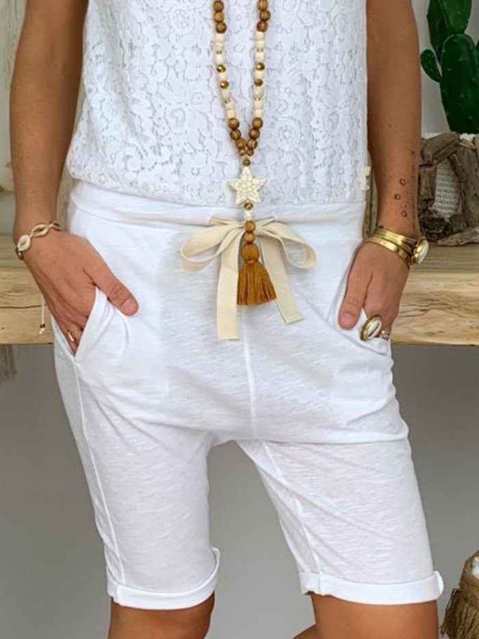 Light Khaki Casual Cotton-Blend Pockets Solid Pants