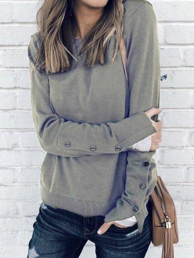 Elegant Solid Long Sleeve T-Shirts