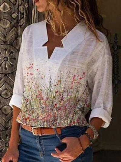 Long Sleeve Floral-Print V Neck Casual Shirts & Tops
