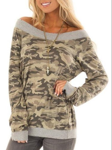 Camouflage Long Sleeve Paneled Simple & Basic T-Shirts