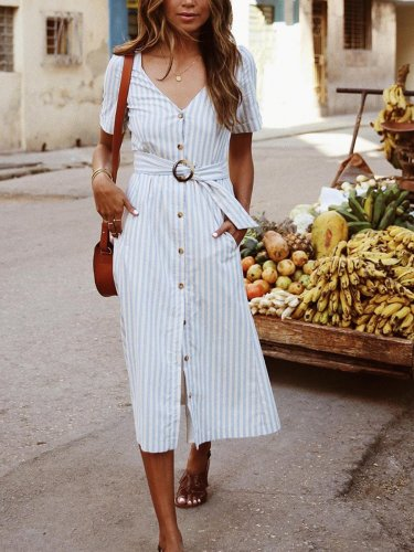 Pockets Short Sleeve Dresses