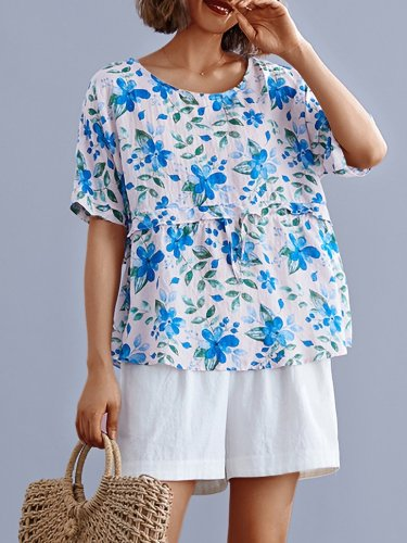 Romantic Floral Short Sleeves Round Neck Loose Casual Tops
