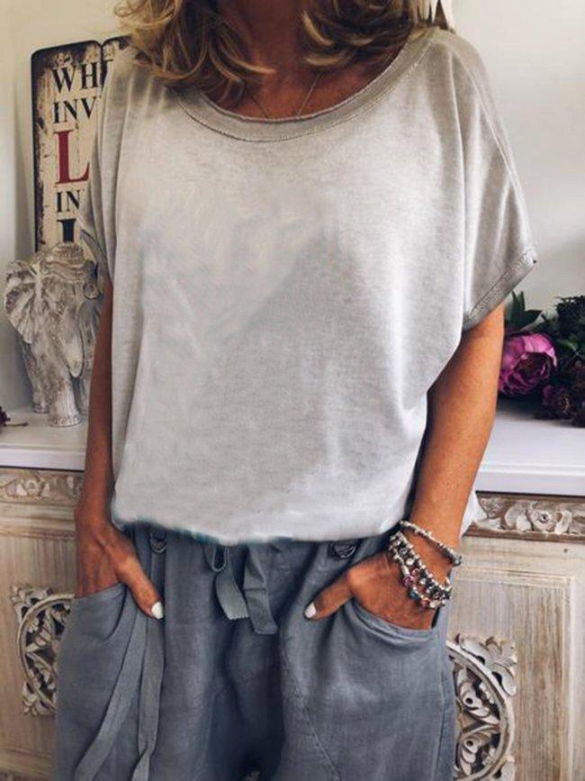 Short Sleeve Cotton-Blend Crew Neck Plain Shirts & Tops