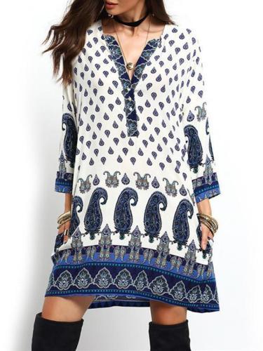 Beautiful Bohemia Long Sleeve V Neck Mini Dress