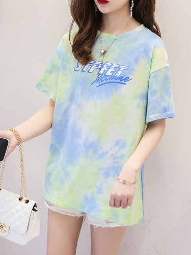 Women Short Sleeve Round Neck Vintage Gradient Tie Dyeing  Floral Casual Tops