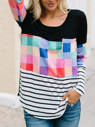 Multicolor Geometric Color Catching Simple & Basic T-Shirts
