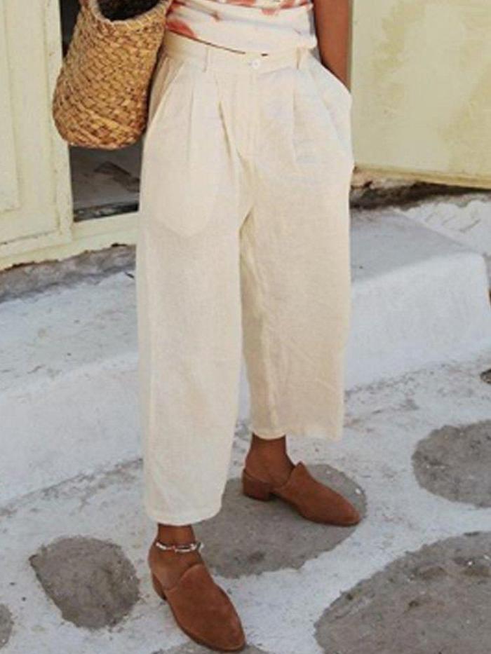 Patchwork Cotton-Blend Casual Pockets Pants