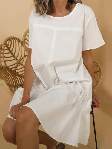 Casual White Ruched Short Sleeve Midi Dress
