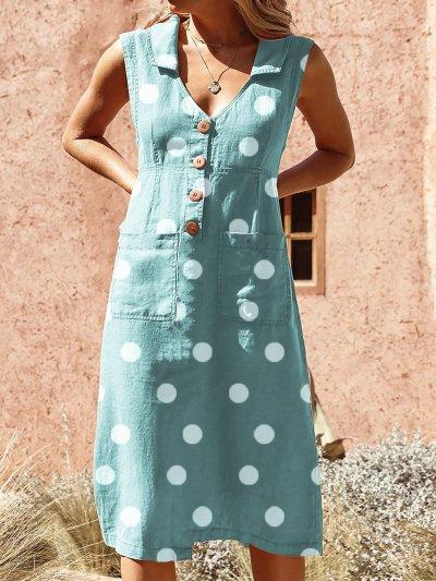 Elegant Buttoned Down Solid Pockets Plus Size Dress