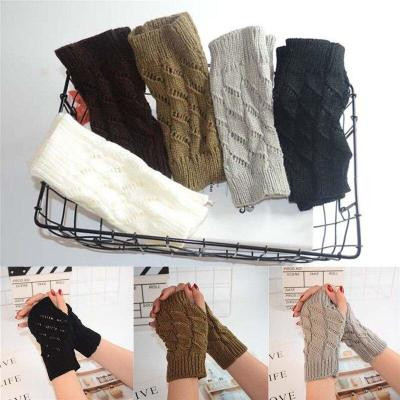 Casual Warmer Winter Fingerless Gloves Geometry Half Finger Knitted Wrist Mittens one Pairs