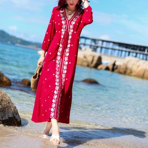 Holiday summer slim loose embroidered dress