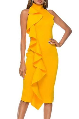 Sexy Ruffled High Collar Sleeveless Pure Colour Bodycon Dresses