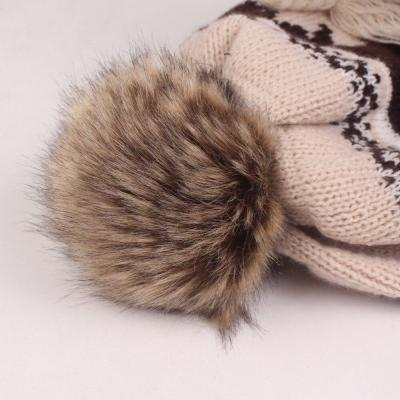 Winter Snow Caps for Women Woolen Maple Leaf Pattern Add Velvet
